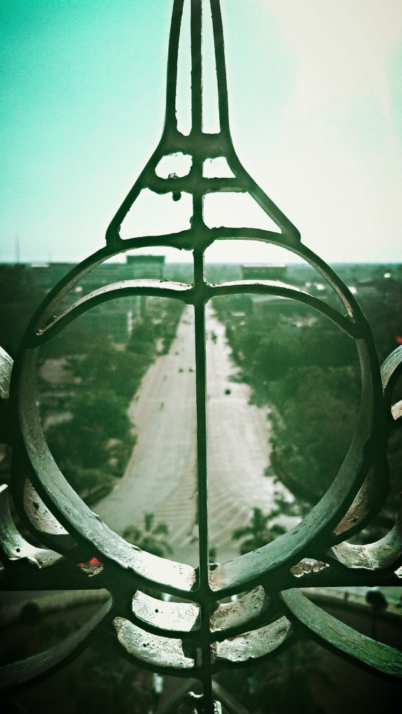 A symmetrical view from one of the windows at Patuxai  Laos Victory Gate, Vientiane's Arc de