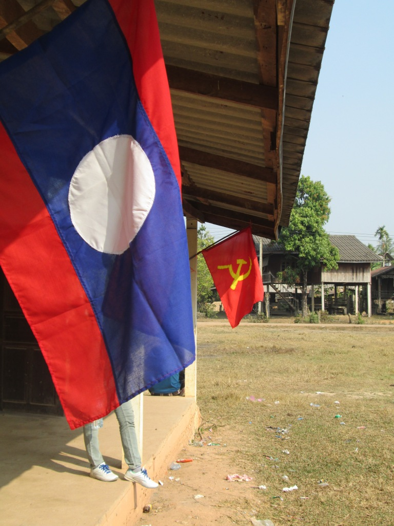 This is the building of the village chief. Laos and Vietnam have a really interesting and supportive partnership and political relationship in which both countries support each other. These flags are just few of the many symbolic representation of such relationship.
