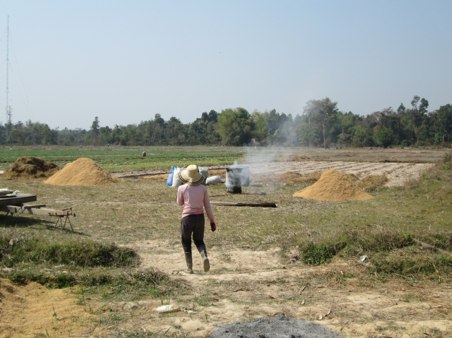 Miss Tadam one of our farmers heading to the field.