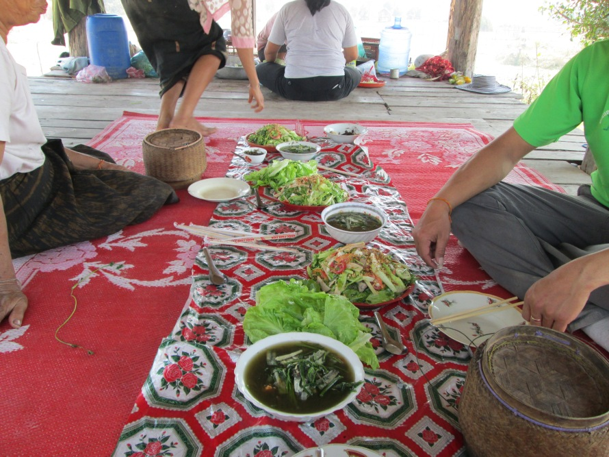 We had lunch with our farmers and their families at the site with some local Laotian food.